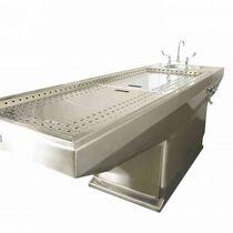 Mesa de autopsia / rectangular / de acero inoxidable / con fregadero