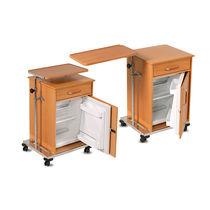 Mesa de cabecera con ruedas / con compartimento refrigerador / con bandeja de cama integrada