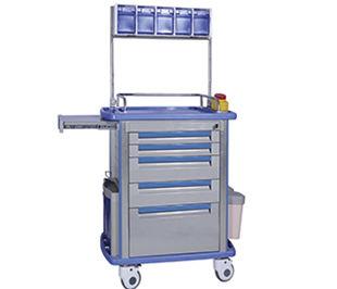 carro de anestesia / para desechos / con estantes / con papelera