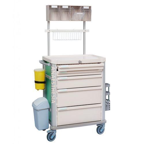 carro de anestesia / con cajón / con papelera / de altura variable