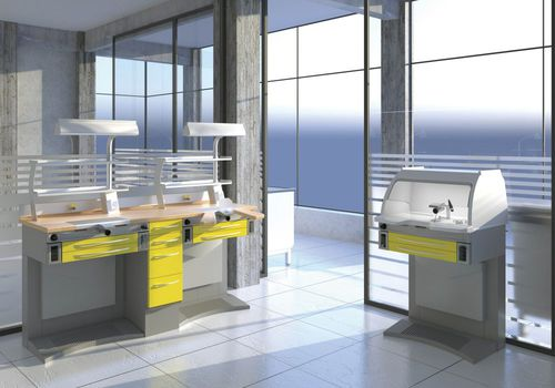 puesto de trabajo para laboratorio dental modular / con luz / con campana / con fregadero