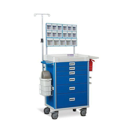 carro de anestesia / de medicamentos / 6 cajones / con portasueros
