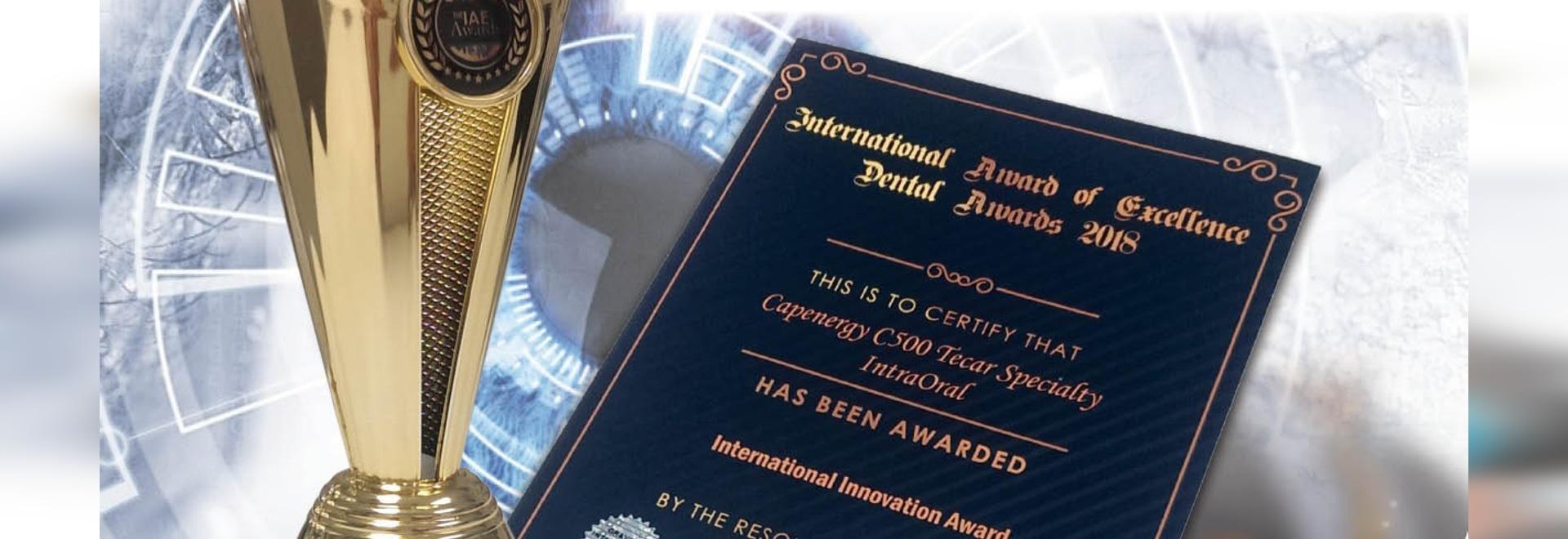 El equipo Capenergy C500 Tecar Specialty IntraOral premiado por The IAE Awards Council