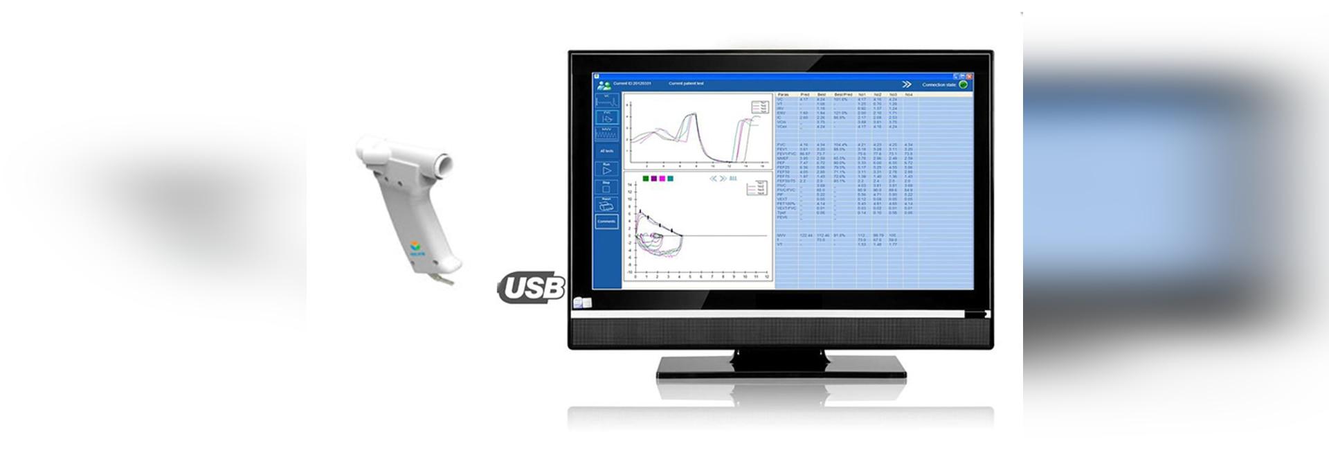 Espirómetro de mano ultrasónico computarizado