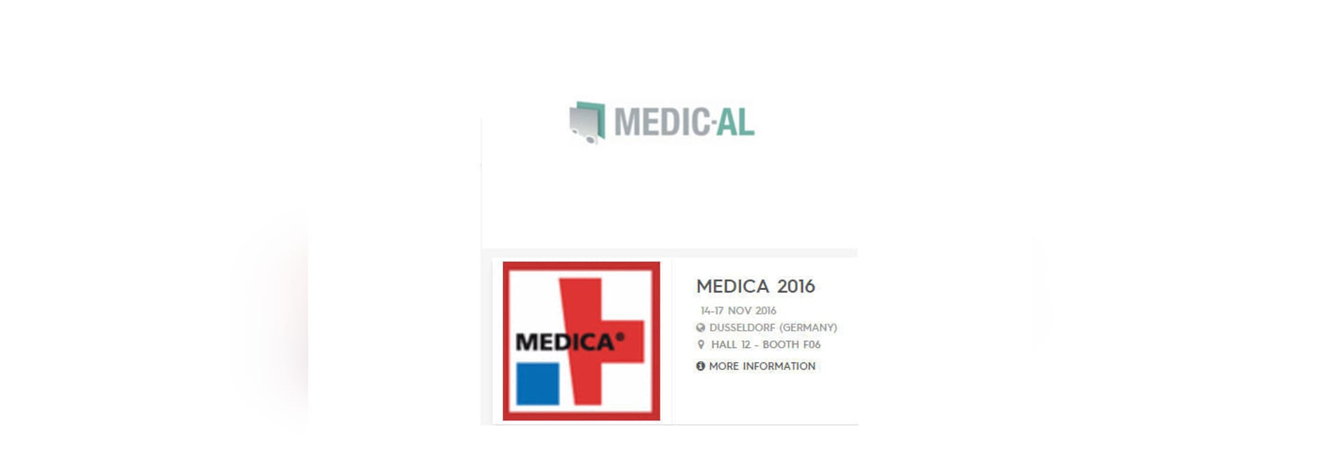 MEDIC-AL is exhibiting on MEDICA in hall 12 / booth F06