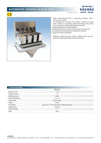 AUTOMATIC DOSING SCALES WAD