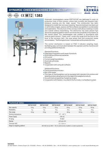 DYNAMIC CHECKWEIGHERS DWT/HC/HP