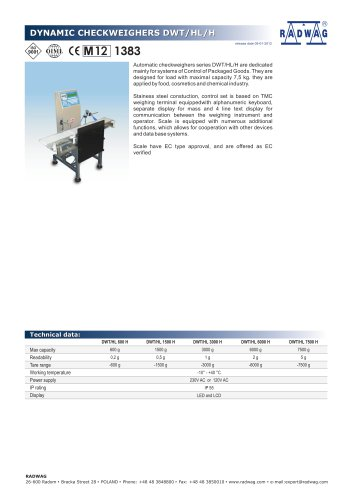 DYNAMIC CHECKWEIGHERS DWT/HL/H