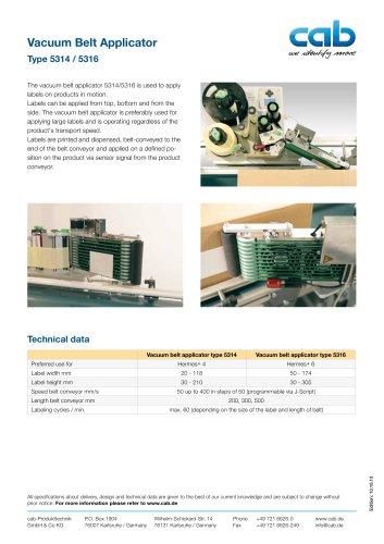 Vacuum Belt Applicator Type 5314 / 5316