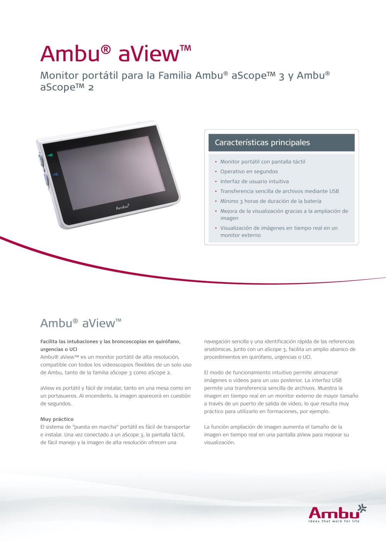 Ambu® aView™ - Ambu - Catálogo PDF   Documentación técnica   Brochure