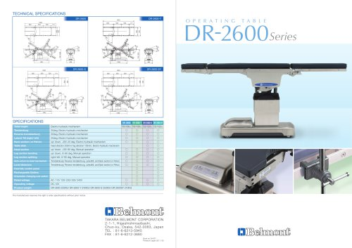 OPERATING TEBLE (DR-2600 SERIES)