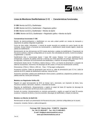 Características MONITOR DESFIBRILADOR