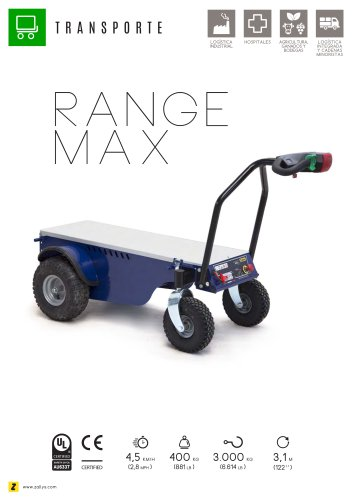 RANGE MAX Carro eléctrico de carga 4 ruedas