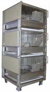 jaula para la experimentación animal para conejos / 3 compartimentos / de acero inoxidable