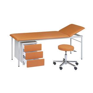 mesa de exploración manual / de altura fija / de 2 secciones / con espacio de almacenamiento