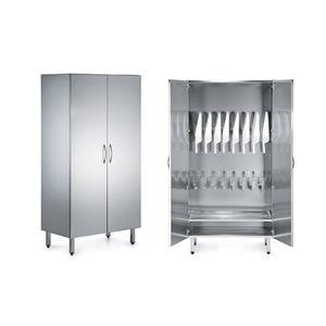 armario para palanganas / de hospital / con puerta / de acero inoxidable