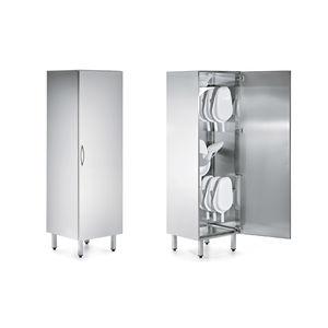 armario para palanganas / de hospital / con 1 puerta / de acero inoxidable