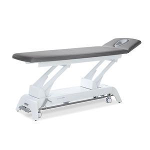 mesa de masaje eléctrica / de altura ajustable / con ruedas / de 2 secciones