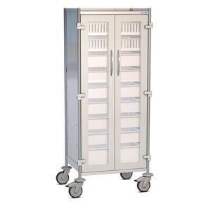armario de hospital / con 2 puertas / con bandejas / con ruedas