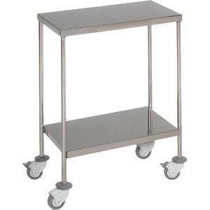 mesa de instrumentos 2 estantes / con ruedas / de acero inoxidable