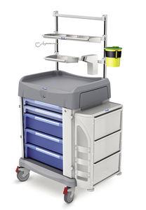 carro de anestesia / de lavandería / con estantería / con compartimentos laterales