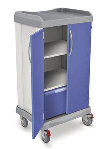 carro de transporte / para ropa limpia / con estantes / con 2 puertas