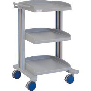 carro multifunción / 3 estantes / de hospital / de aluminio