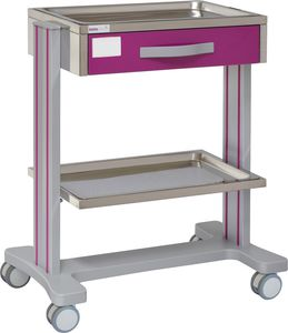 carro multifunción / 1 cajón / 2 bandejas / de hospital
