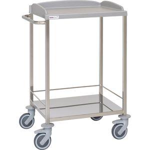 carro multifunción / 2 estantes / de hospital / de acero inoxidable