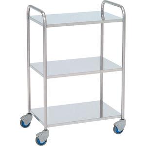 mesa de instrumentos auxiliar / 3 estantes / con ruedas / de acero inoxidable