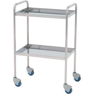 mesa de instrumentos auxiliar / 2 estantes / con ruedas / de acero inoxidable