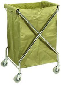 carro de transporte / para ropa sucia / 1 bolsa / de acero inoxidable