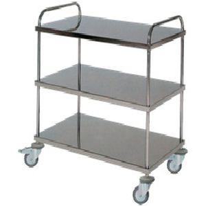 carro de transporte / para ropa limpia / 3 estantes / de acero inoxidable