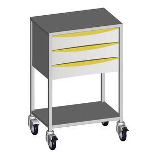 carro de anestesia / de uso general / 3 cajones / 1 estante