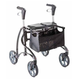 andador con ruedas 4 ruedas / con canastas / plegable / de altura variable