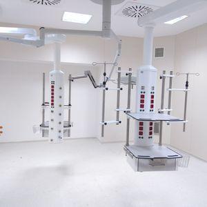 brazo de distribución / columna de suministro / de techo / con estantes