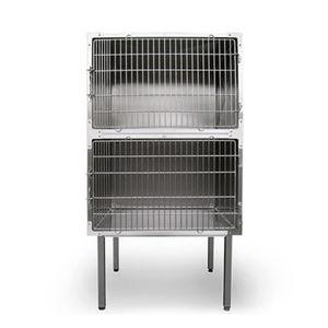 jaula veterinaria para perros / 2 compartimentos / dos cubiertas / de acero inoxidable