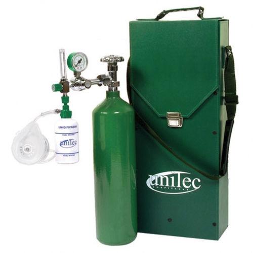 Sistema De Oxigenoterapia Portátil Um110 Unitec Hospitalar Con Botella De Oxigeno Con Máscara De Oxígeno