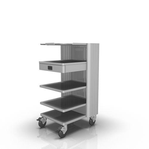 carro de transporte / 1 cajón / con estantes / de aluminio