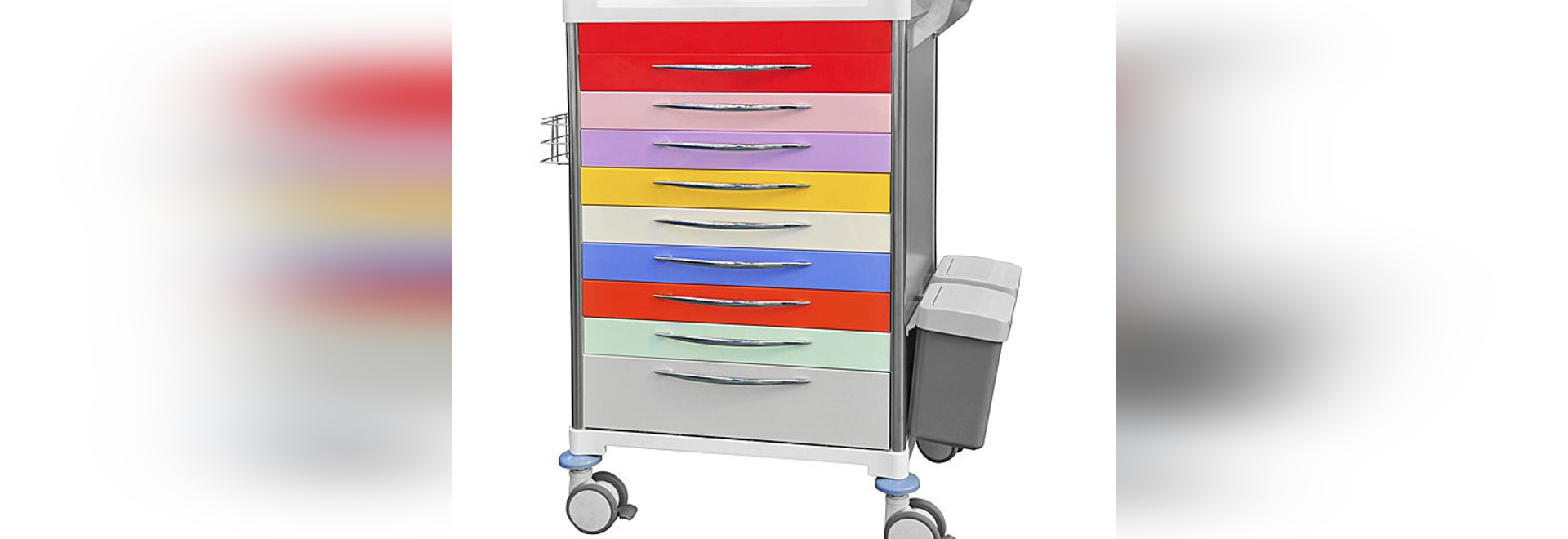 Carretilla de la medicación de la pediatría del diseño de 9 cajones