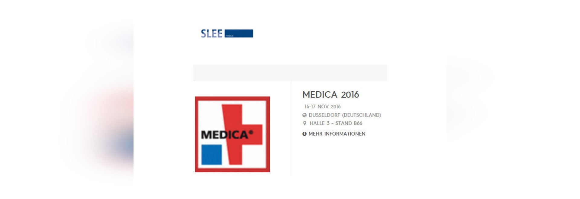 SLEE  Medical exhibits on Medica 2016 in Hall 3 / B66