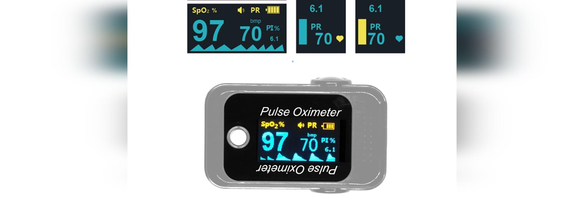 Spo2, frecuencia de pulso y PI monitoreados por un oxímetro de pulso de cuatro vías