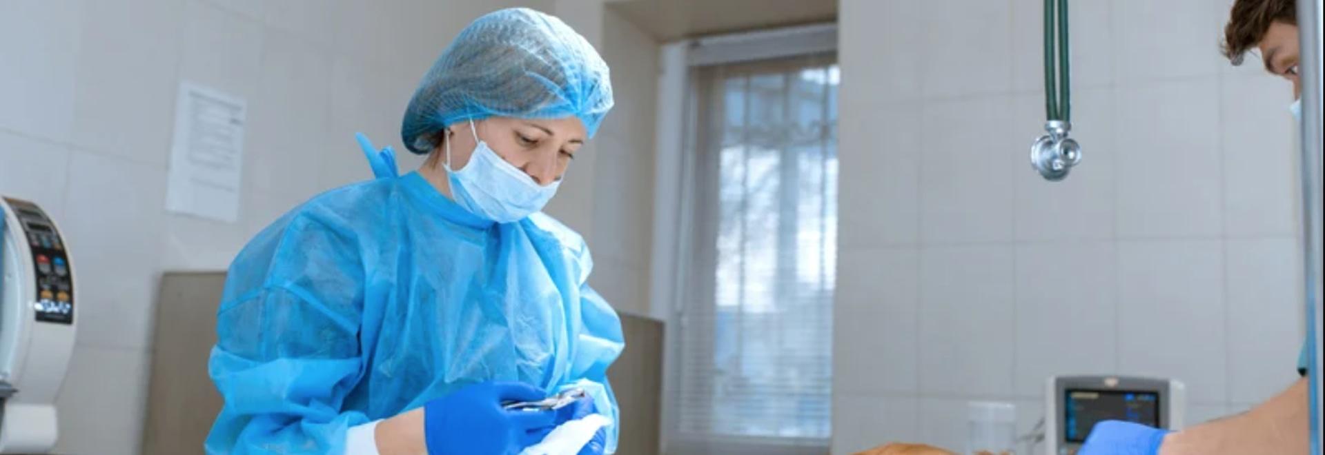 El veterinario que realiza la cirugía