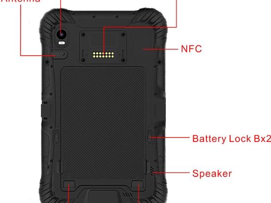 8'' Tableta resistente al agua con lector RFID HF y UHF y escáner de código de barras