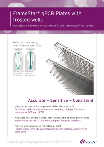 FrameStar qPCR Plates for ABI®/LifeTech® instruments