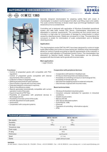 AUTOMATIC CHECKWEIGHER DWT/HL L/HPC