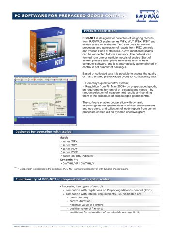 PC SOFTWARE FOR PREPACKED GOODS CONTROL