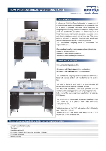 PSW PROFESSIONAL WEIGHING TABLE