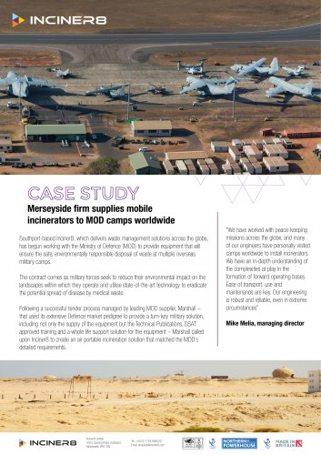 Mobile Medical Incinerators for the Ministry of Defence