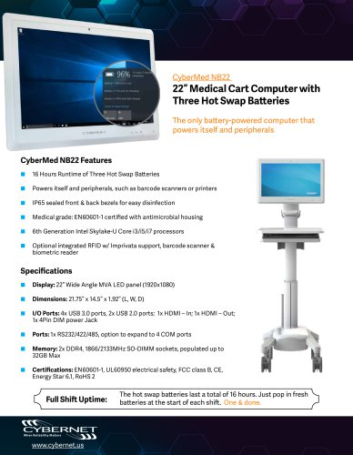 """22"""" Medical Cart PC with 3 Hot Swap Batteries Product Overview"""